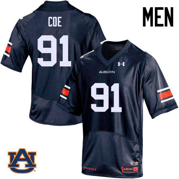 Men Auburn Tigers #91 Nick Coe College Football Jerseys Sale-Navy